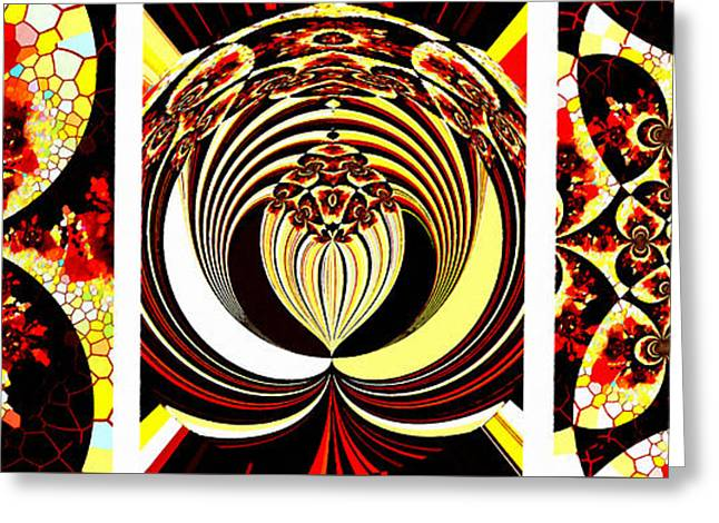 Iconic - Abstract - Triptych Greeting Card by Barbara Griffin