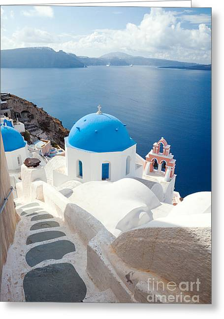 Iconic Blue Domed Churches In Santorini - Greece Greeting Card by Matteo Colombo