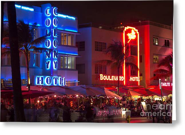 Iconic Colony Hotel South Beach Greeting Card by Rene Triay Photography