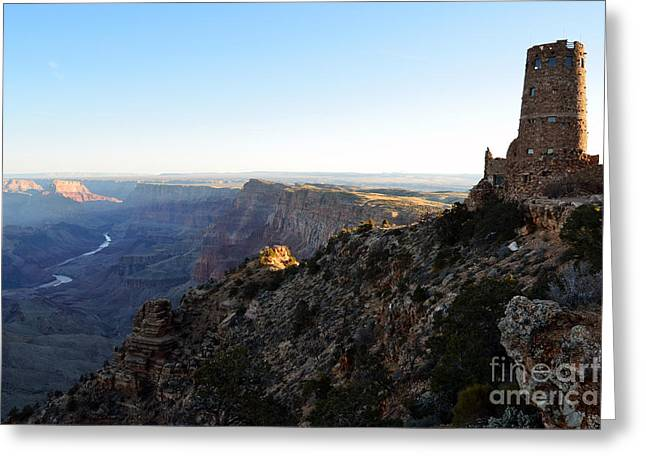 Iconic Desrt View Watchtower Overlooking Grand Canyon At Sunrise Greeting Card by Shawn O'Brien