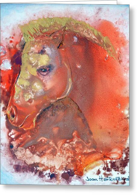 Greeting Card featuring the painting Iconic Horse Head by Joan Hartenstein