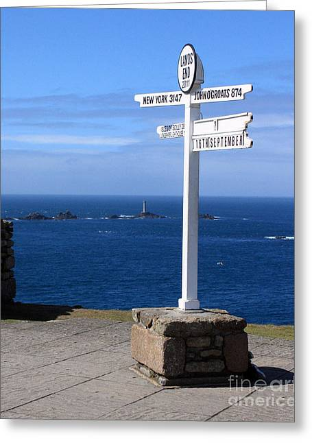 Greeting Card featuring the photograph Iconic Lands End England by Terri Waters