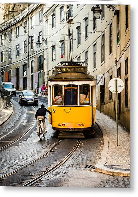 Iconic Lisbon Streetcar No. 28 II Greeting Card by Marco Oliveira
