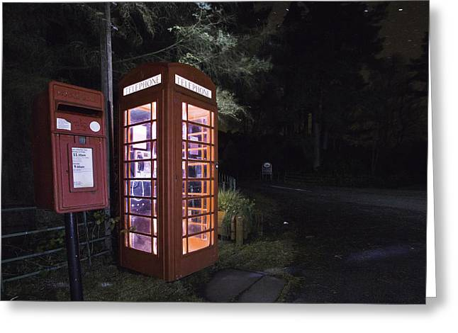 Iconic Uk Phone Box  Greeting Card by Buster Brown
