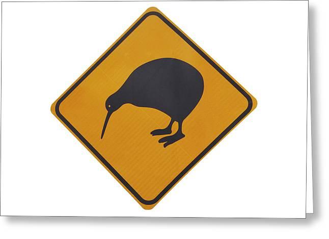 Iconic Yellow Kiwi Warning Sign, New Greeting Card by David Wall