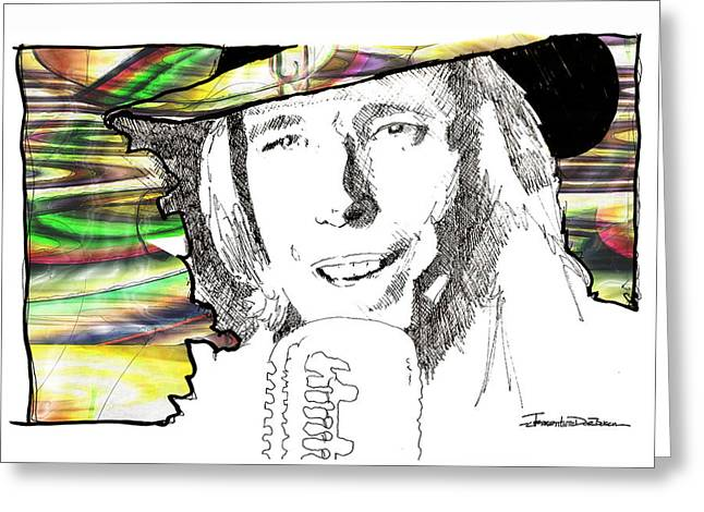 Icons - Tom Petty Greeting Card by Jerrett Dornbusch