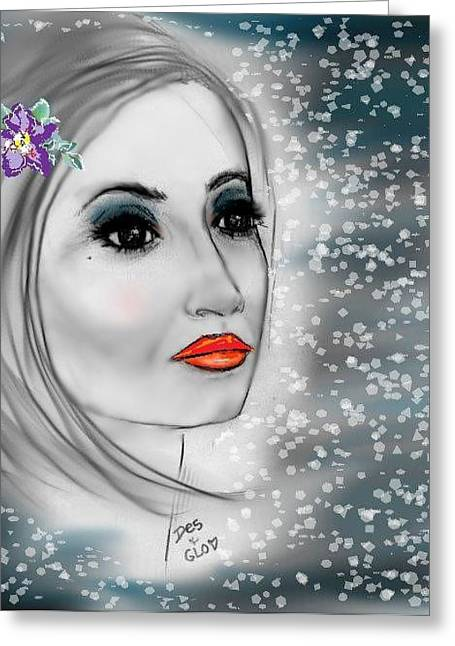 Greeting Card featuring the mixed media Icy Blue by Desline Vitto