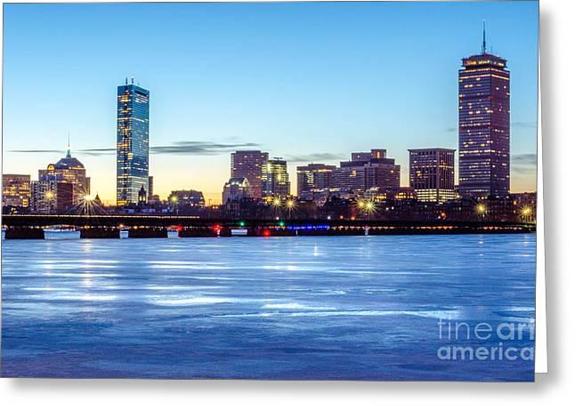 Icy Boston At Dawn Greeting Card