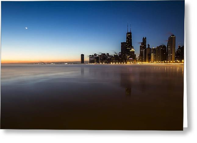 icy crescent moon dawn scene in Chicago Greeting Card