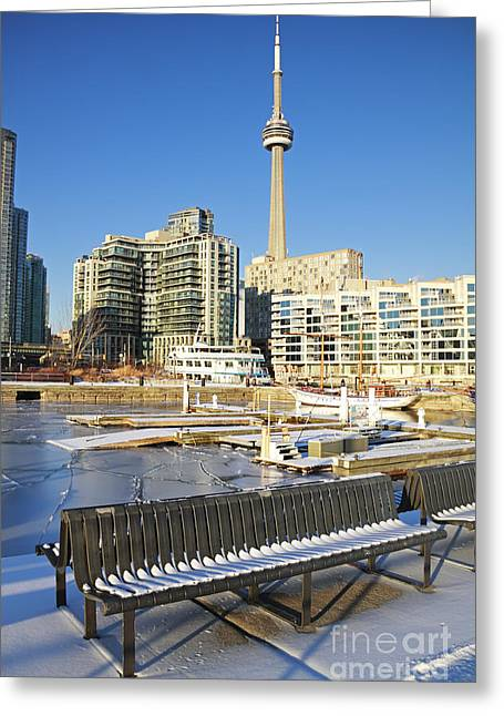 Icy Harbourfront Greeting Card by Charline Xia