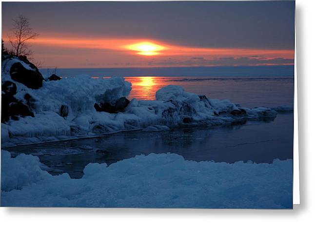 Greeting Card featuring the photograph Icy Lake Superior Sunrise by Sandra Updyke