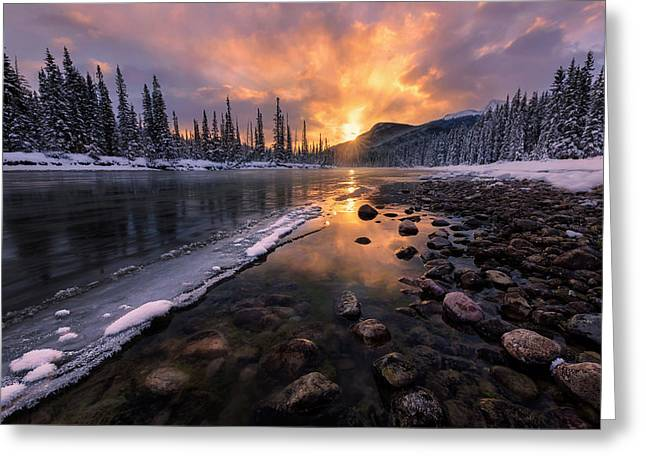 Icy Morning On Fire Greeting Card
