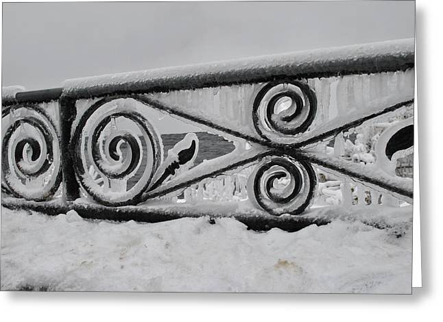 Icy Railing Greeting Card by Mark Alan Perry