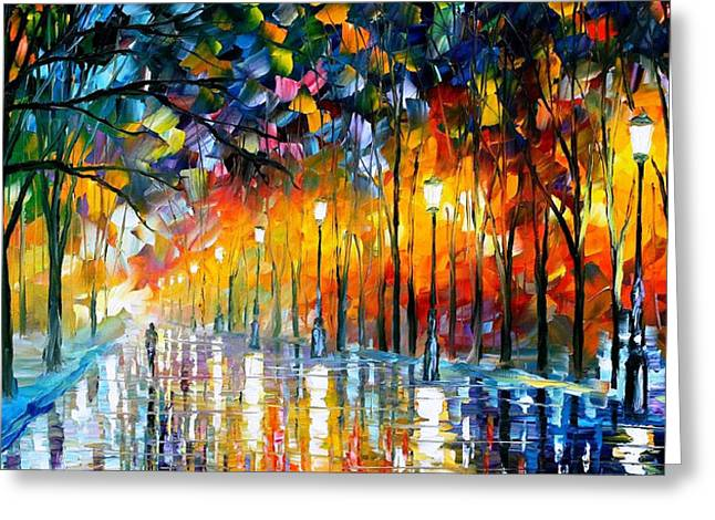 Icy Reflections - Palette Knife Oil Painting On Canvas By Leonid Afremov Greeting Card by Leonid Afremov