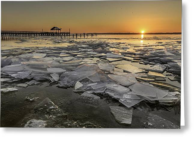 Icy Sunrise Greeting Card