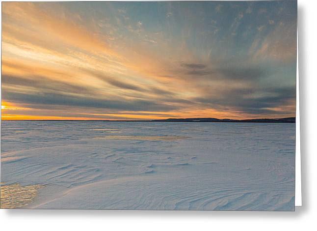Icy Sunset Greeting Card by Pierre Cornay