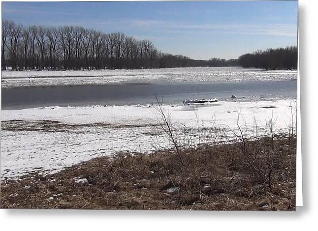 Icy Wabash River Greeting Card