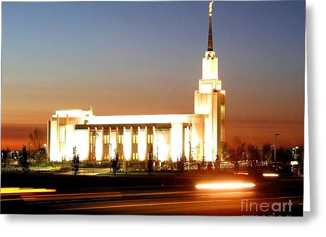 Twin Falls Temple At Night Greeting Card by Jenny Wood