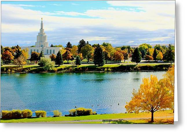 Greeting Card featuring the photograph Idaho Falls Temple by Benjamin Yeager