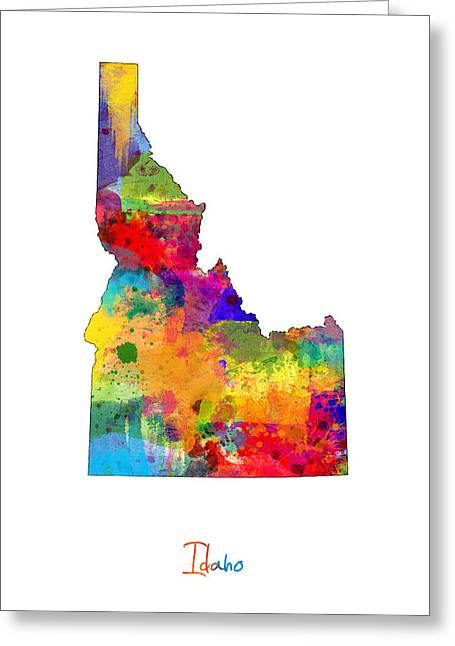 Idaho Map Greeting Card by Michael Tompsett