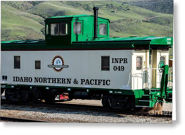 Idaho Northern And Pacific Railroad Caboose Greeting Card by Gary Whitton