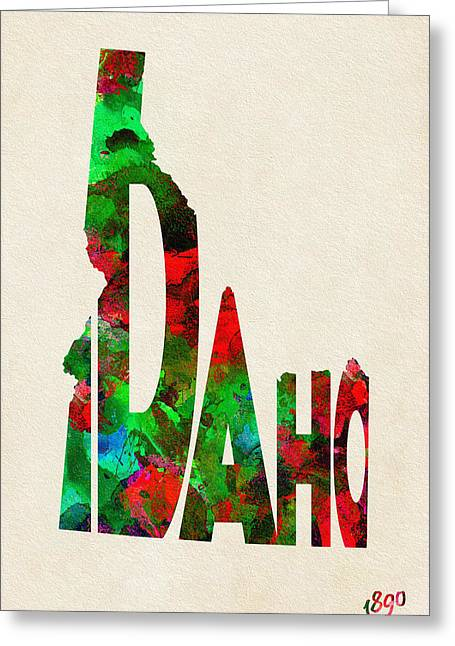 Idaho Typographic Watercolor Map Greeting Card
