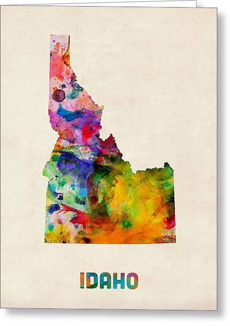 Idaho Watercolor Map Greeting Card by Michael Tompsett