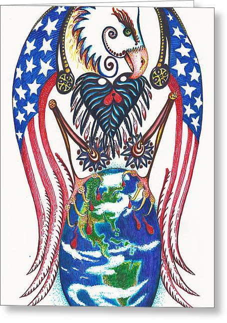 Idealistic Eagle With A Blue Egg Greeting Card by Melinda Dare Benfield