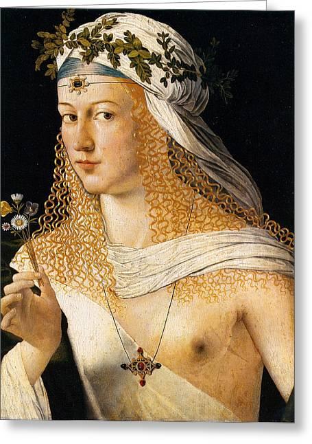 Idealized Portrait Of A Courtesan As Flora Greeting Card by Bartolomeo Veneto