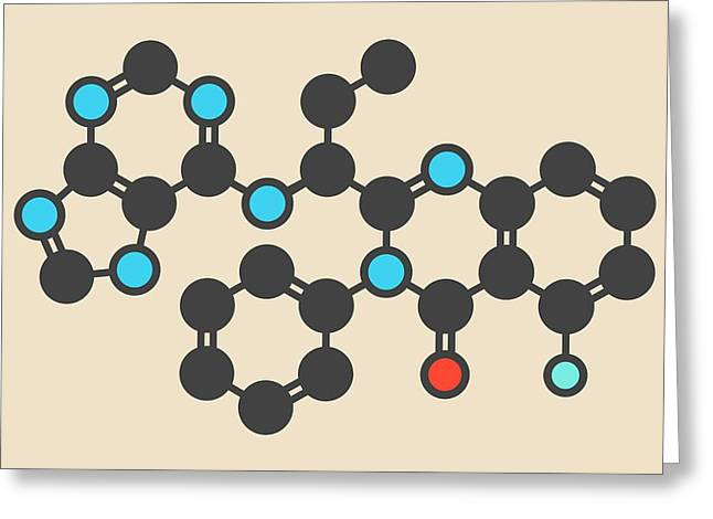 Idelalisib Leukaemia Drug Molecule Greeting Card