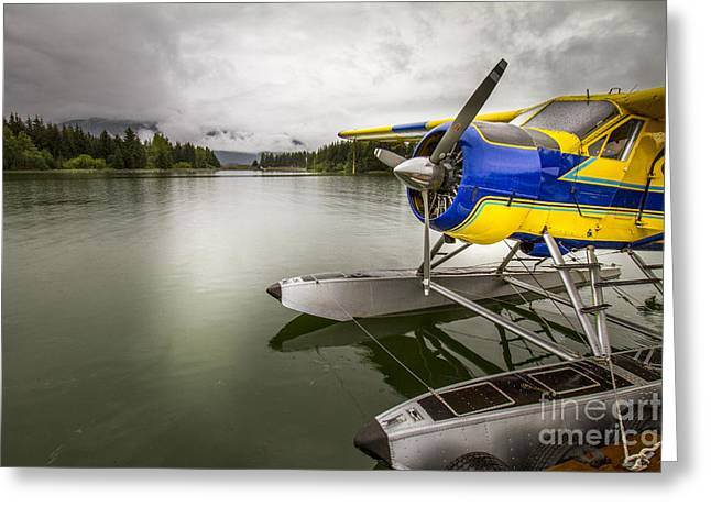 Idle Float Plane At Juneau Airport Greeting Card by Darcy Michaelchuk