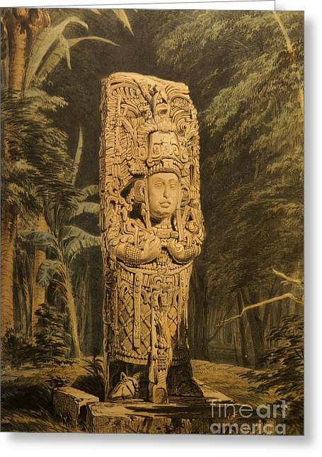 Idol At Copan By Frederick Catherwood Greeting Card by John  Mitchell