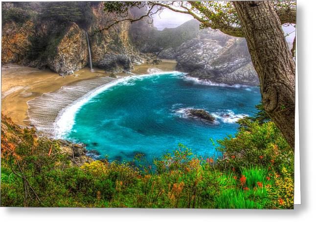 Idyllic Cove-1a. Mc Way Falls Julia Pfeiffer State Park - Big Sur Central California Coast Spring Greeting Card