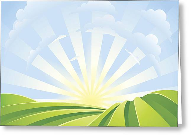 Idyllic Green Fields With Sunshine Rays And Blue Sky Greeting Card