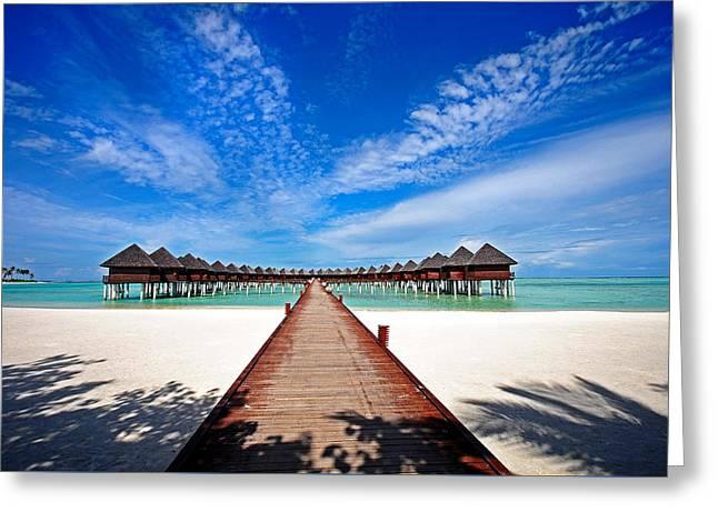 Idyllic Symmetry. Water Villas. Maldives Greeting Card