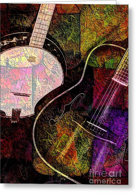 If Not For Color Digital Banjo And Guitar Art By Steven Langston Greeting Card by Steven Lebron Langston