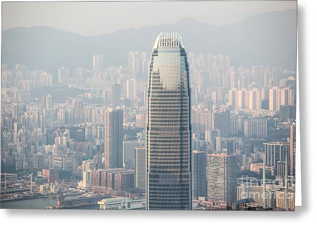 Ifc Building And Hong Kong Skyline From Victoria Peak Greeting Card by Matteo Colombo