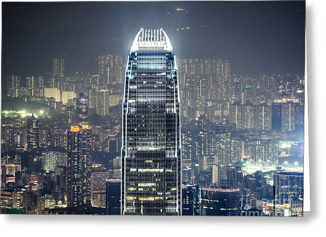 Ifc Tower And Skyline Of Hong Kong At Night Greeting Card