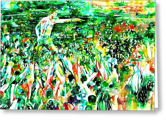 Iggy Pop Stadium Live Concert - Watercolor Painting Greeting Card by Fabrizio Cassetta