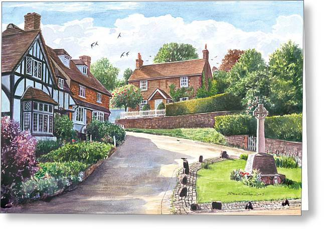 Ightam Village Greeting Card by Steve Crisp