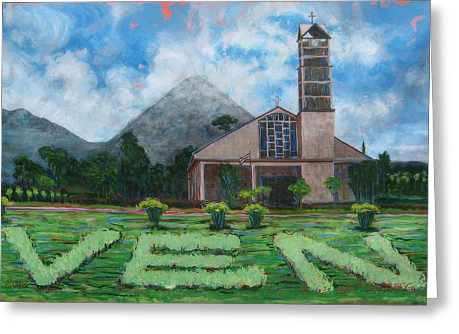 Iglesia La Fortuna  Costa Rica Greeting Card