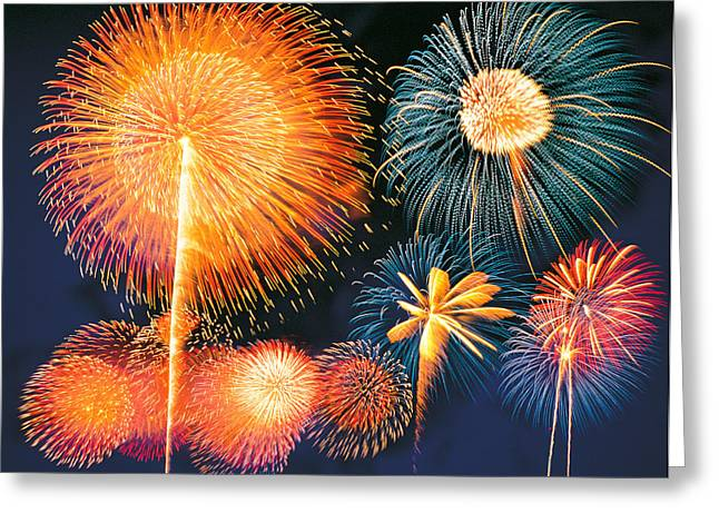 Ignited Fireworks Greeting Card by Panoramic Images