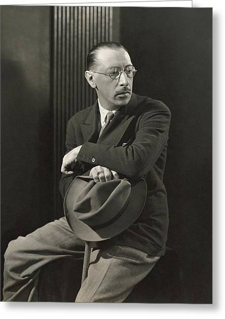 Igor Stravinsky With A Hat Greeting Card by George Hoyningen-Huen?