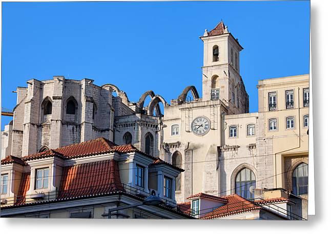 Igreja Do Carmo Ruins In Lisbon Greeting Card by Artur Bogacki