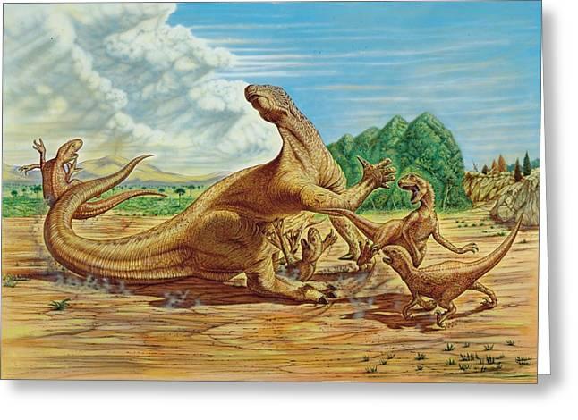 Iguanodon Defending Itself Greeting Card