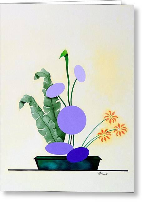 Ikebana #2 Green Pot Greeting Card by Thomas Gronowski