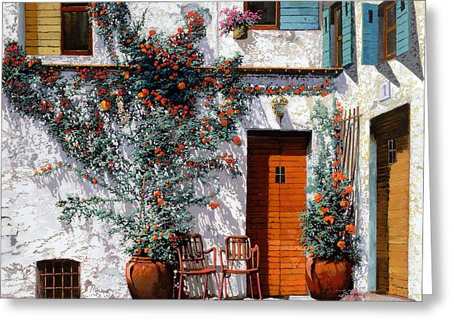 Il Cortile Bianco Greeting Card by Guido Borelli