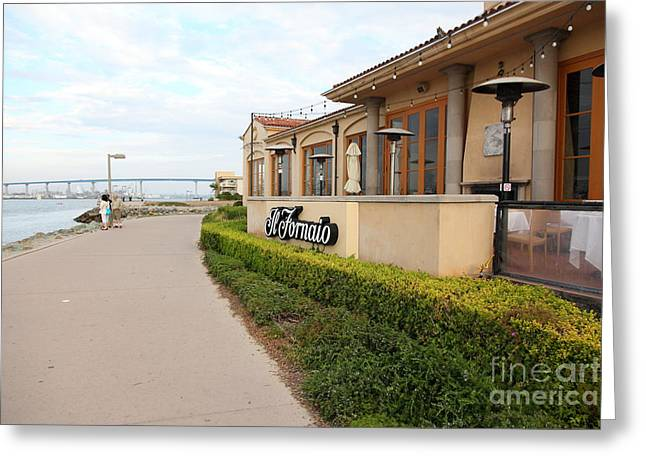 Il Fornaio Italian Restaurant In Coronado California Overlooking The San Diego Coronado Bridge 5d243 Greeting Card