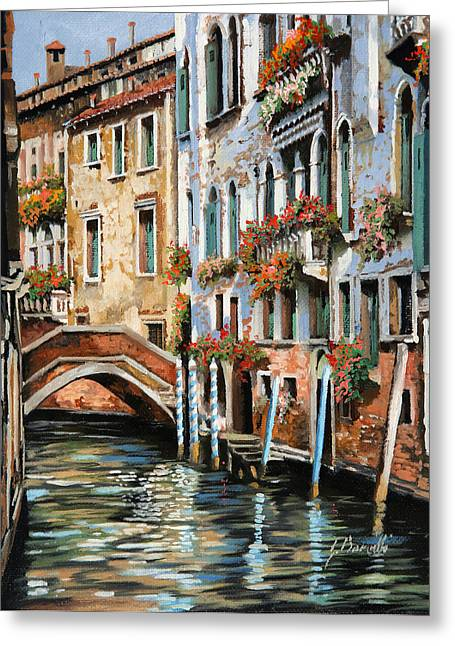 Il Ponte E I Pali Greeting Card by Guido Borelli