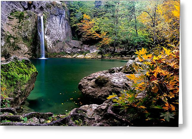 Greeting Card featuring the photograph Ilica Waterfall - 2 by Okan YILMAZ